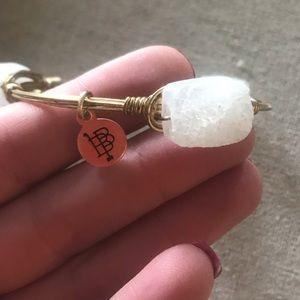 White Crystal Stone Bangle
